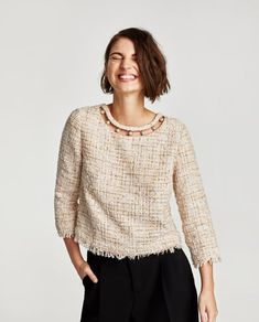 Discover the new ZARA collection online. The latest trends for Woman, Man, Kids and next season's ad campaigns. Zara Tops, Special Occasion Outfits, Zara New, Tweed Dress, Everyday Outfits, Fashion Outfits, Womens Fashion, Blouses For Women, Muslim