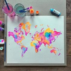 Image about beautiful in Art - Drawings/Paintings/Sketches by Butterfly Art And Illustration, Illustrations, Art Diy, Diy Artwork, Art Design, Art Inspo, Painting & Drawing, Neon Painting, World Map Painting