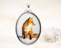 Red Fox Necklace  Sitting Fox Pendant Silver Fox by ADelicateWorld