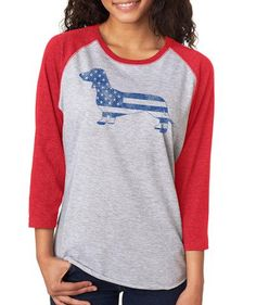 Look at this SignatureTshirts Gray & Red American Dachshund Raglan Tee on today! Tees, Tee Shirts, T-shirt Raglan, Baby Dachshund, Tunic Leggings, What Should I Wear, Red Lobster, Pretty Outfits, Puppy Love