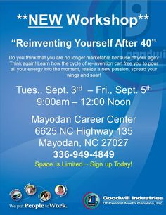 Reinventing Yourself After 40 Workshop - Sep 3, 2014 to Sep 5 ...