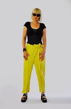 NEW Yellow Linen Pants/Casual  loose pants/Yellow trousers/Extravagant linen Trousers/Handmade pants/Drop crotch  summer pants/P1395