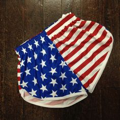 Now you can work out or exercise and show your USA pride with these fully sublimated American flag running shorts.