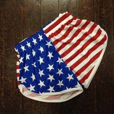 American Flag Women's Running Shorts