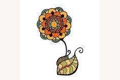 colored doodle flower by Vector&VideoArtShop on @creativemarket