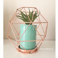 Kmart Australia copper geo candle holder with turquoise plant pot with succulent. Kmart hack #kmarthack #kmart
