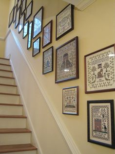 """More stairway samplers. If I ever get those samplers in the """"To be Framed """" pile to my framer, I'll have to re-do this wall."""