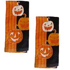 Laughing Pumpkins Halloween Cotton Kitchen Towels 2 Pk Mi…