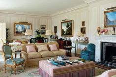 """[i]A nine-metre rug designed by Hugh extends across three seating areas in the drawing room in this 18th Century house.[/i] Like this? Then you'll love [link url=""""http://www.houseandgarden.co.uk/interiors/bedroom""""]The bedroom design of your dreams? It might just be right here...[/link]"""