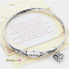 Mom Heart Charm Bracelet NWT - antique Silver heart charm crystal bracelet -2.5 Diameter Boutique Jewelry Bracelets