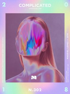 This whole chromatic scheme is really interesting in design and would like to explore how this would work past a poster, for example maybe thick tape? Graphic Design Trends, Graphic Design Posters, Graphic Design Inspiration, Magdiel Lopez, Holographic Wallpapers, Layout Design, Web Design, Cover Design, Glitch Art