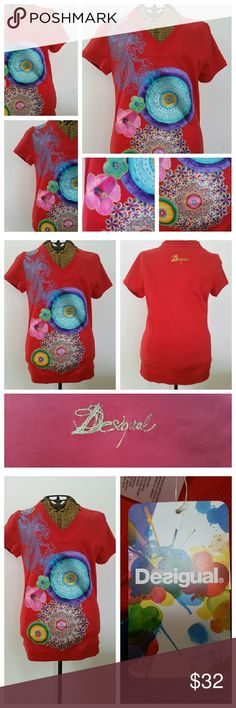 """DESIGUAL fun embellished t shirt top S Fun t shirt Sz S V neck Underarm to underarm 16.5"""" unstretched  Top of shoulder to hem 25"""" New with tags Desigual Tops Tees - Short Sleeve"""