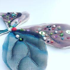 Sampling. Silk organza and beading. www.deborahotooletextileartist.com
