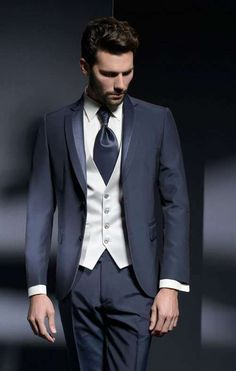 Image result for hugo boss blue suit with silver vest