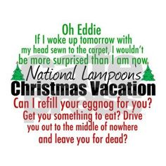 Funny movie quotes from National Lampoon's Christmas Vacation. I love those Griswold family characters, especially Clark and his sense of humor for the holidays.