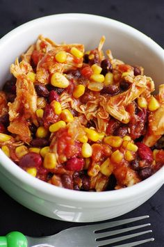 Crock Pot Chicken Taco Chili.. 23 net carbs for 1 1/4 cups... not great, but all from beans & corn, which I'm ok with... and loads of protein