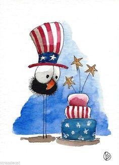 ACEO Original watercolor painting patriotic art bird crow American flag cake hat