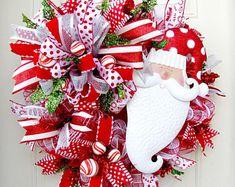 Santa Christmas Mesh Wreath- Christmas Mesh Wreath- Santa Mesh Wreath- Santa Christmas Wreath- Christmas Front Door Wreath