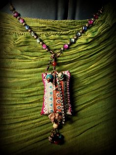 Bohemian gypsy vintage textile and bead necklace