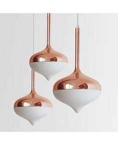'Spun' pendants lights by Sydney based design studio Evie Group. Photo – Rachel Kara for The Design Files. Copper Pendant Lights, Copper Lamps, Rose Gold Pendant, Pendant Lighting, Gold Pendants, Copper Mirror, Copper Lighting, Pendant Lamps, Design Light