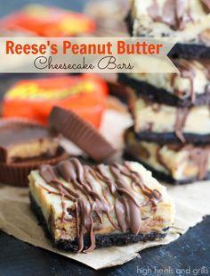Reese's Peanut Butter Cheesecake Bars. #dessert #recipe http://www.highheelsandgrills.com/2014/05/reeses-peanut-butter-cheesecake-bars.html