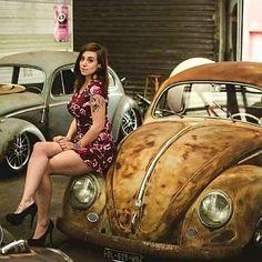 X Bros Apparel Vintage Motor T-shirts, Volkswagen Beetle & Bus T-shirts, Great price… ♠ Vw Bus, Sexy Cars, Hot Cars, Fusca German Look, Van Vw, Porsche, Audi, Kdf Wagen, Bus Girl