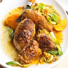Ginger Curry Chicken with Lentils and Leeks All by itself, the cooking liquid -- chicken broth flavored with ginger, oranges, and leeks -- would be a great soup recipe. Poultry, lentils, and bok choy make it a meal.