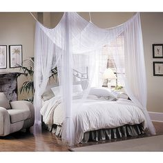 Majesty White Large Bed Canopy - Bed canopy brings you back in time. Canopy hangs easily with included top-loops from a ceiling or four poster bed since no frame is necessary. Canopy Bed Curtains, Canopy Over Bed, Canopy Bedroom, Dream Bedroom, Bedroom Decor, Bed Canopies, Bed Canopy Diy, Ceiling Canopy, Curtains Around Bed