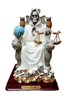 """10.5"""" Statue of White La Santa Muerte Holy Death Grim Reaper Skeleton Skull"""