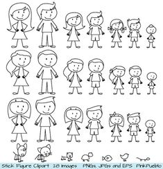 Stick Figure Clipart Clip Art, Stick People Family and Pets Clipart Clip Art - Commercial and Personal Use