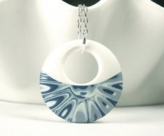 Polymer Clay Pendant featuring Abstract Blue by WiredOrchidJewelry, $25.00