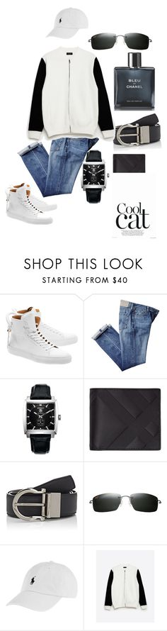 """""""cool cat"""" by sassynchic ❤ liked on Polyvore featuring BUSCEMI, TAG Heuer, Burberry, Salvatore Ferragamo, Maui Jim, Polo Ralph Lauren, Zara, Chanel, men's fashion and menswear"""