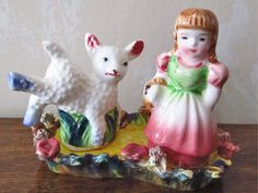 NAPCO * MARY & LITTLE LAMB +BASE * NURSERY RHYME *Salt and Pepper Shakers *MINT #NAPCOJapan