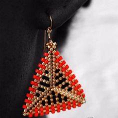 Geometric Earrings: Orange, Gold & Black