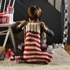 Hand Knit Wool Stocking - Children's Christmas | The White Company.. I want one of these for Max!!