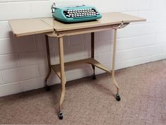 MID CENTURY MODERN Office TYPEWRITER TABLE METAL #VINTAGE DESK ROLLING  #INDUSTRIAL #VintageOffice $55.99