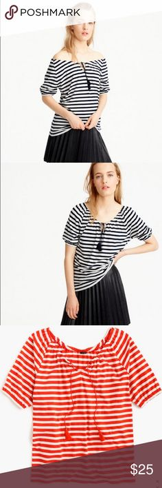 J. Crew Striped peasant top (NWT) Brand new with tags. Only black and white striped top available. The first two pics are for reference only to show fit and style on a model. The fit runs a little big in my opinion. It's size small but fits more like medium. J. Crew Tops