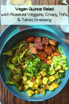 Roasted Vegetable Quinoa Salad with Tahini Dressing - My Dainty Kitchen Vegan Keto Recipes, Healthy Salad Recipes, Curry Recipes, Quinoa Bowl, Quinoa Salad, Vegetable Quinoa, Marinated Tofu, Vegetarian Curry, Quick And Easy Appetizers