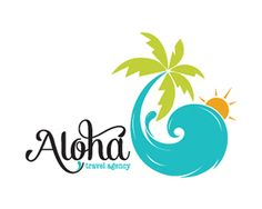 ALOHA TRAVEL AGENCY Logo design - This logo is ideal for a business related to: any travel agencies, seaside gift shop, seafood restaurant, seaside hotel, beach products, seaside accessories, photographer, vacation rentals, bed and breakfast, jewelry, fashion, clothing store, not profit charity, jewelry, wedding and events, bed and breakfast, beach gift retail, restaurant, home staging or home decor, Aquariums, pet stores, meal planner, seafood distributor, seafood shack, cafeteria, art and…