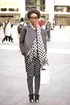 Have a dot: graphic black and white polka dots feel retro, but now #streetstyle #fashionweek #fashionweek