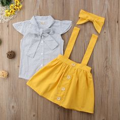 Polka dot shirt + Yellow Suspenders - Dressing up our babies is so much fun! This beautiful outfit it's perfect for either summer or fal - Baby Outfits, Little Girl Outfits, Little Girl Fashion, Baby Girl Dresses, Toddler Outfits, Baby Dress, Kids Outfits, Kids Fashion, Cute Outfits