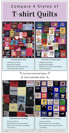 This infographic compares 4 types of T-shirt quilts. You can quickly see the difference between all 4 styles here. : This infographic compares 4 types of T-shirt quilts. You can quickly see the difference between all 4 styles here. Quilting Projects, Quilting Designs, Sewing Projects, Sewing Ideas, Sewing Tips, Art Projects, T-shirt Quilts, Denim Quilts, Girls Quilts