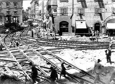 before 1879: Piazza del Duomo during installation of the railways (lines will be open on 1879)