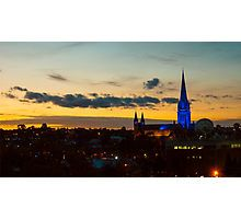 Blue Lit Sacred Heart Cathedral at Nightime - Bendigo, Victoria Photographic Print