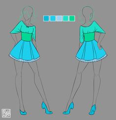 Female Romantic Style by Izumi-sen on DeviantArt Drawing Anime Clothes, Dress Drawing, Fashion Design Drawings, Fashion Sketches, Clothing Sketches, Anime Dress, Other Outfits, Character Outfits, Anime Outfits