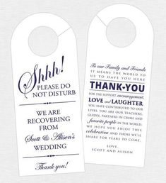 Double-sided door hanger with thank you card for wedding hotel welcome bags.