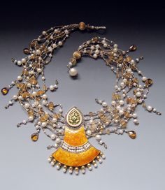 Indian enamel and diamond pendant, strands of citrine, fresh water pearls, silver, with antique French brass seed beads, 18 gold LuciaAntonelli.co,
