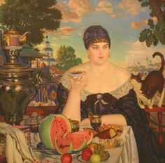Boris Kustodiev Merchant's Wife at Tea, oil on canvas, State Russian Museum, St. Russian Painting, Russian Art, Russian Style, Framed Art Prints, Painting Prints, Art Paintings, She And Her Cat, Tea Culture, Canvas Art
