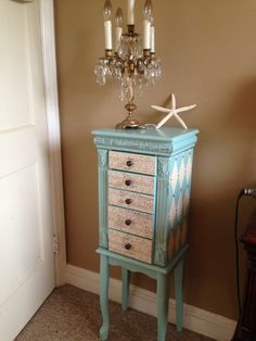 Large Upcycled Jewelry Armoire Hand Painted Painted Aqua Blue Distressed Decoupaged from ColorfulHomeDesigns on Etsy. Upcycled Furniture, Furniture Projects, Furniture Makeover, Painted Furniture, Diy Furniture, Diy Projects, Refurbished Furniture, Jewelry Closet, Jewelry Armoire