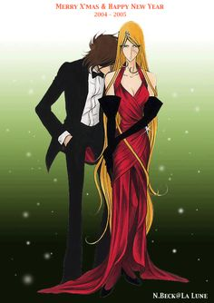 Leiji Matsumoto - Queen Emeraldas & Captain Harlock - Always thought  they look cute together. ╮(╯▽╰)╭